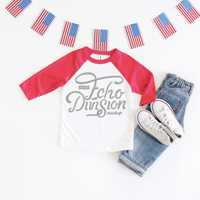 4th of July Shirt mock-up - Bella + Canvas - Toddler Three-Quarter Sleeve Baseball Tee - 3200T - Red - flat lay - photography65