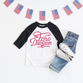 4th of July Shirt mock-up - Bella + Canvas - Toddler Three-Quarter Sleeve Baseball Tee - 3200T - Black - flat lay - photography63