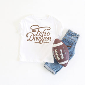 Football  Mockup - Shirt Mockup - Rabbit Skins - Toddler Fine Jersey Tee - 3321 White  - Outfit Flatlay #0384