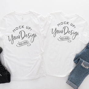 Front & Back Shirt Mockup  - Bella Canvas 3001 T-Shirt - White  - Front And  Back  Flat lay - Apparel Photography #0397