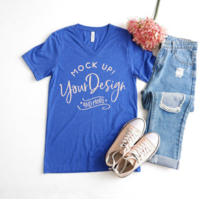 Shirt Mockup  -  Bella + Canvas - Unisex Short Sleeve V-Neck Jersey Tee - 3005 Heather True Royal - Outfit Flat lay - Apparel Photography #0517