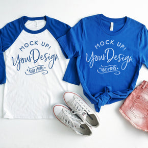4th of July Mockup - Raglan Shirt  mockup - Bella + Canvas -  Baseball T-Shirt - 3200 - Royal - 3001 True Royal - Couple Mockup #00028