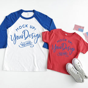4th of July Mockup - Raglan Shirt  mockup - Bella + Canvas -  Baseball T-Shirt - 3200 - Royal - Rabbit Skins - Toddler Tee - 3321 -Red #00029