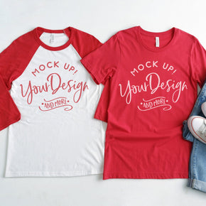 4th of July Mockup - Raglan Shirt  mockup - Bella + Canvas -  Baseball T-Shirt - 3200 - Red  - 3001 Red - Couple Mockup #00026