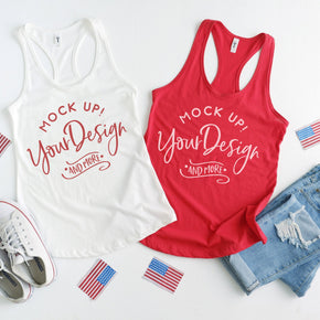 Next Level 1533 White - Red | 4th of July Mockup with Flags | Women Ideal Racerback Tank | Summer Mockup | Styled Mockup | Flat Lay #0491