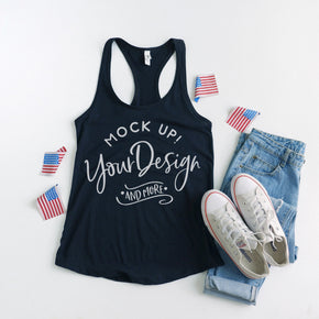 Next Level 1533 Black | 4th of July Mockup with Flags | Women Ideal Racerback Tank | Summer Mockup | Styled Mockup | Flat Lay #0476
