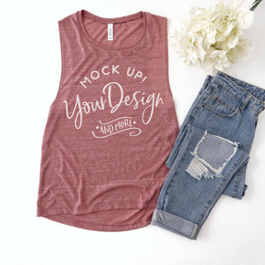 Tank Top Mockup -Bella + Canvas - Women's Flowy Muscle Tank - 8803  Mauve Marble - Apparel Photography #1127