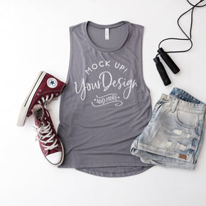 Tank Top Mockup -Bella + Canvas - Women's Flowy Muscle Tank - 8803 Storm  - Apparel Photography #1174