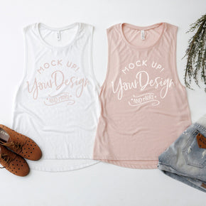 Tank Top Mockup -Bella + Canvas - Women's Flowy Muscle Tank - 8803  Peach  - White - Apparel Photography #1146