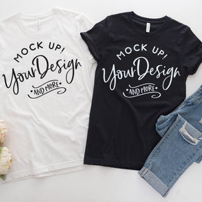 Couple Shirt Mockup  - Bella Canvas 3001 Shirt - White  - Black -  Outfit Flat lay - Apparel Photography #0292