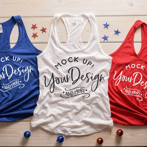 Next Level 1533 Royal - White - Red | 4th of July Mockup with Flags | Women Ideal Racerback Tank | Summer Mockup | Styled Mockup | Flat Lay #0487