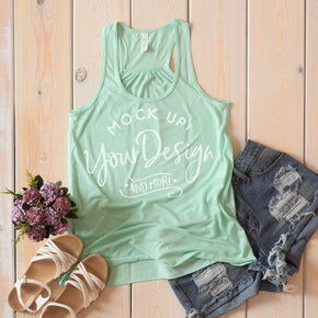 Tank Top Mockup -Bella + Canvas - Women's Flowy Racerback Tank - 8800 Mint - Apparel Photography #1214