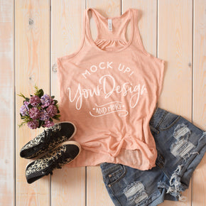 Tank Top Mockup -Bella + Canvas - Women's Flowy Racerback Tank - 8800 Peach Slub - Apparel Photography #1222