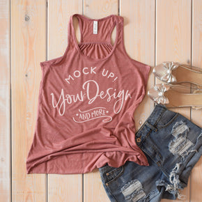 Tank Top Mockup -Bella + Canvas - Women's Flowy Racerback Tank - 8800 Mauve Marble - Apparel Photography #1210