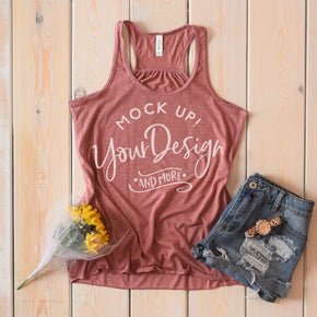 Tank Top Mockup -Bella + Canvas - Women's Flowy Racerback Tank - 8800 Mauve Marble - Apparel Photography #1209