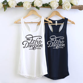 Couple Mockup  - Next level 1533 White - Midnight Navy Tank top Mockup- Outfit Flat lay - Apparel Photography239