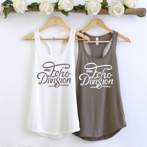Couple Mockup  - Next level 1533 White - Worm Grey Tank top Mockup- Outfit Flat lay - Apparel Photography249