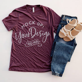 Shirt Mockup  - Bella Canvas 3001 T-Shirt -  Heather Maroon  - Outfit Flat lay - Apparel Photography #0609