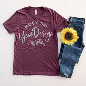 Shirt Mockup  - Bella Canvas 3001 T-Shirt -  Heather Maroon  - Outfit Flat lay - Apparel Photography #0608