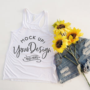 Tank Top Mockup -Bella + Canvas - Women's Flowy Racerback Tank - 8800 White - Apparel Photography #1231