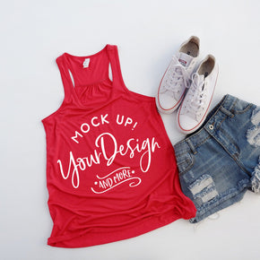 Tank Top Mockup -Bella + Canvas - Women's Flowy Racerback Tank - 8800 Red - Apparel Photography #1225