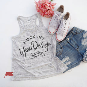 Tank Top Mockup -Bella + Canvas - Women's Flowy Racerback Tank - 8800 White Marble - Apparel Photography #1233