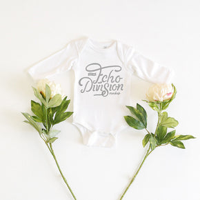 Onesie Mockup -Rabbit Skins - Infant Long Sleeve Baby Rib Bodysuit - 4411 White  - Outfit Flatlay #0501
