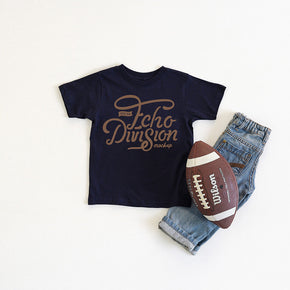 Football  Mockup - Shirt Mockup - Rabbit Skins - Toddler Fine Jersey Tee - 3321 Navy - Outfit Flatlay #0382