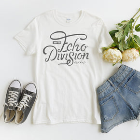 Shirt Mockup - Gildan - Softstyle T-Shirt - 64000 White - Wooden Background- Flat lay - Apparel photography #1000