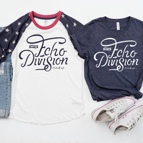 4th Of July  Shirt Mockup  - Alternative - Printed Eco-Jersey™ Baseball Raglan T-Shirt - Bella Canvas - 3001 T-shirt - Heather Navy #00006