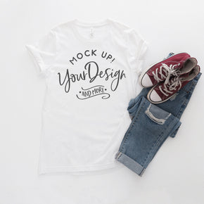 Shirt Mockup  - Bella Canvas 3001 Shirt - White - Outfit Flat lay - Apparel Photography #0764