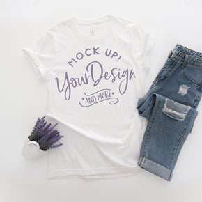 Shirt Mockup  - Bella Canvas 3001 Shirt - White - Outfit Flat lay - Apparel Photography #0769