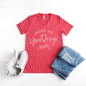 Shirt Mockup  -  Bella + Canvas - Unisex Short Sleeve V-Neck Jersey T-Shirt - 3005 Heather Red - Outfit Flat lay - Apparel Photography #0514