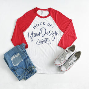 4th of July Mockup - Raglan Shirt  mockup - Bella + Canvas - Unisex Three-Quarter Sleeve Baseball T-Shirt - 3200 - Red #00030