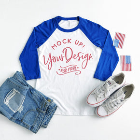 4th of July Mockup - Raglan Shirt  mockup - Bella + Canvas - Unisex Three-Quarter Sleeve Baseball T-Shirt - 3200 - Royal #00031