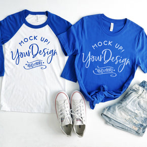 4th of July Mockup - Raglan Shirt  mockup - Bella + Canvas -  Baseball T-Shirt - 3200 - Royal - 3001 True Royal - Couple Mockup #00027