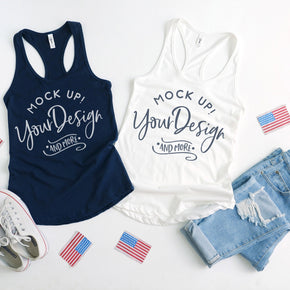 Next Level 1533 White - Navy | 4th of July Mockup with Flags | Women Ideal Racerback Tank | Summer Mockup | Styled Mockup | Flat Lay #0489