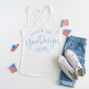 Next Level 1533 White | 4th of July Mockup with Flags | Women Ideal Racerback Tank | Summer Mockup | Styled Mockup | Flat Lay  #0493