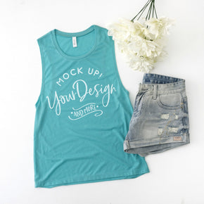 Tank Top Mockup -Bella + Canvas - Women's Flowy Muscle Tank - 8803 Teal - Apparel Photography #1178