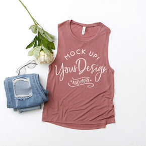 Tank Top Mockup -Bella + Canvas - Women's Flowy Muscle Tank - 8803 -  Mauve  - Apparel Photography #1104