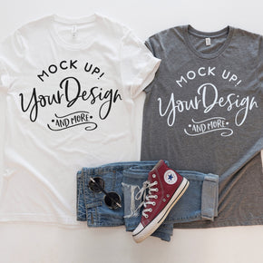 Couple Shirt Mockup  - Bella Canvas 3001 Shirt - White  - Grey -  Outfit Flat lay - Apparel Photography #0294