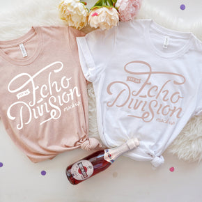 Bachelorette Mockup  - Bella Canvas 3001 Couple Shirt Mockup White -  Heather Prism Peach - Outfit Flat lay - Apparel Photography94