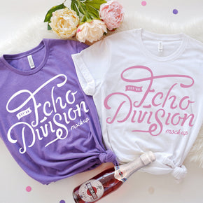 Bachelorette Mockup  - Bella Canvas 3001 Couple Shirt Mockup White - Heather Team Purple - Outfit Flat lay - Apparel Photography109