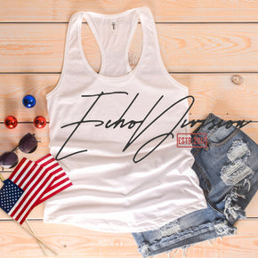 Next Level 1533 White | 4th of July Mockup with Flags | Women Ideal Racerback Tank | Summer Mockup | Styled Mockup | Flat Lay #0492