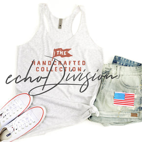 4th Of July - Tank top Mockup -Next Level - Women's Triblend Racerback Tank - 6733  White Heather  -  Apparel photography #00025