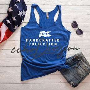 4th Of July - Tank top Mockup -Next Level - Women's Triblend Racerback Tank - 6733 - Vintage Royal -  Apparel photography #00023