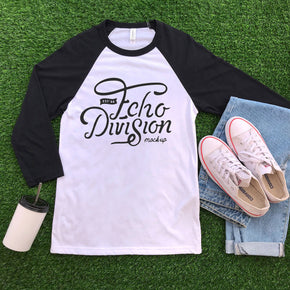 Shirt Mockup - Bella + Canvas 3200 - Raglan mockup  White - Denim - flat lay - photography #0912