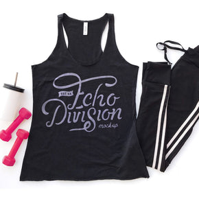 Tank Top Mockup - Bella + Canvas - Women's Triblend Racerback Tank 8430 Black Heather Triblend - Apparel Photography #1080
