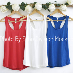 Couple Mockup  - Next level 1533 White - Royal - Red - Tank top Mockup- Outfit Flat lay - Apparel Photography245