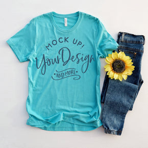 Shirt Mockup  - Bella Canvas 3001 T-Shirt -  Teal - Outfit Flat lay - Apparel Photography #0631